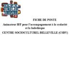 LE CENTRE SOCIOCULTUREL DE BELLEVILLE RECRUTE